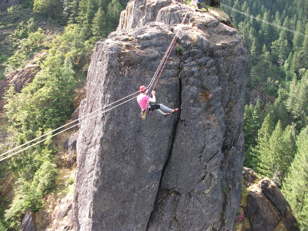 Logan Wetherell on the Tyrolean Traverse