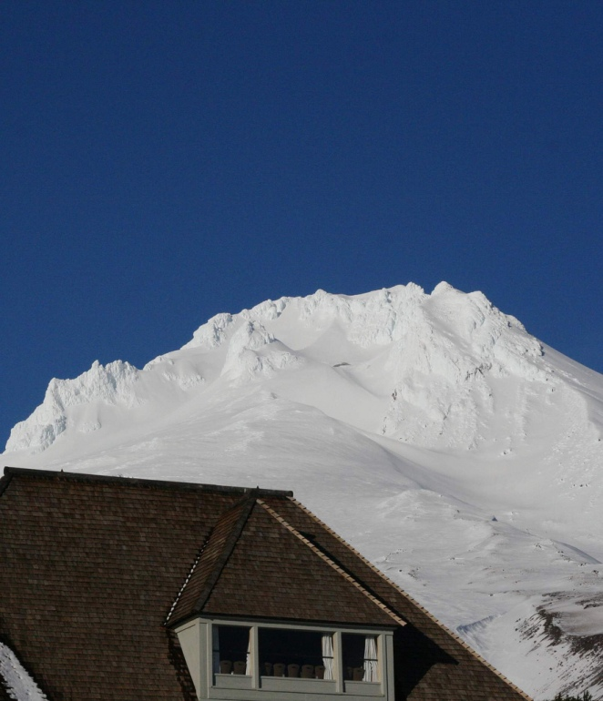 Mt Hood above Timberline Lodge. Photo copyright (c) 2013 Swift Benjamin